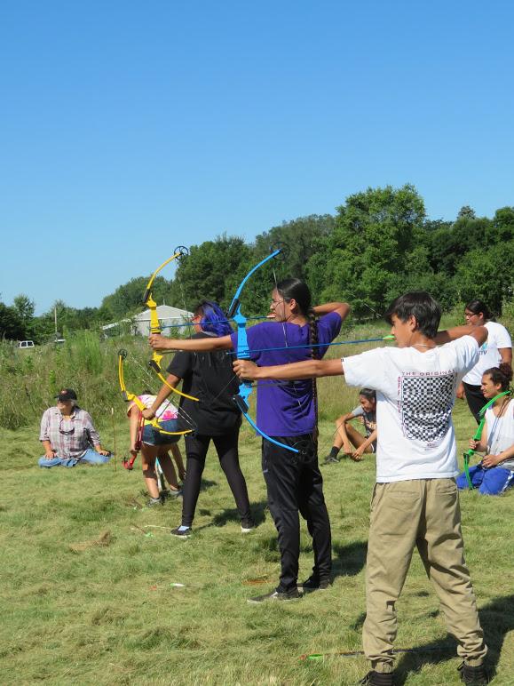Garden Warriors practicing Archery at DWH Farm, 2019.